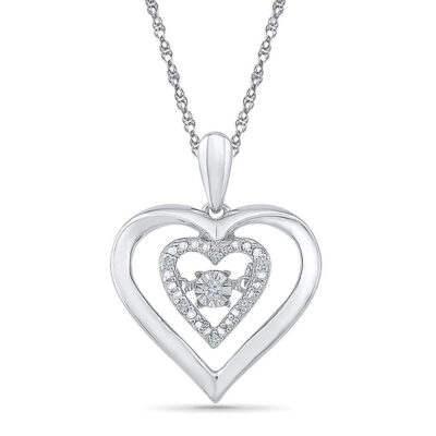 Sterling Silver Womens Round Diamond Moving Heart Pendant .03 Cttw