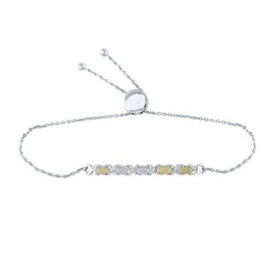 Sterling Silver Womens Round Diamond X-Link Bolo Bracelet 1/8 Cttw