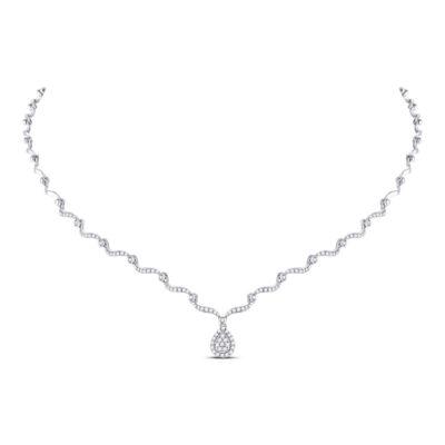 10kt White Gold Womens Round Diamond Teardrop Cluster Necklace 3/4 Cttw