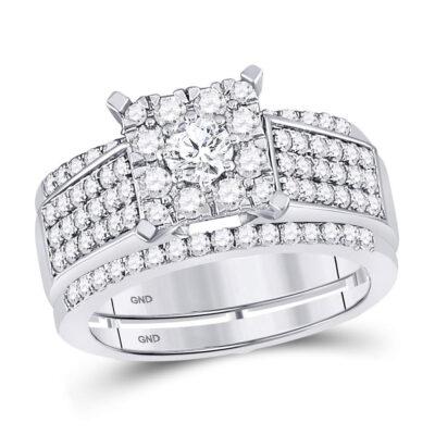 10kt White Gold Round Diamond Bridal Wedding Ring Band Set 1-3/8 Cttw