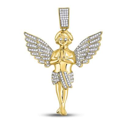 10kt Yellow Gold Mens Round Diamond Angel Charm Pendant 3/8 Cttw