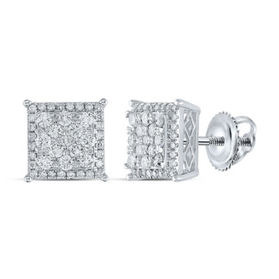 14kt White Gold Womens Round Diamond Square Earrings 1 Cttw