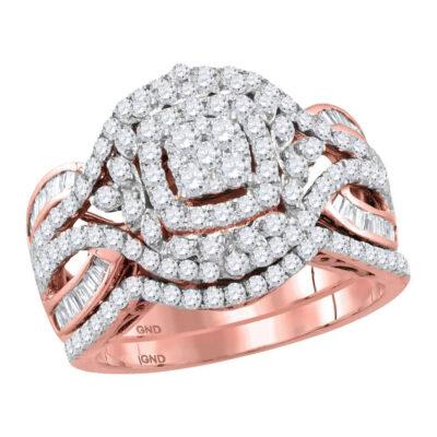14kt Rose Gold Round Diamond Bridal Wedding Ring Band Set 1-1/2 Cttw