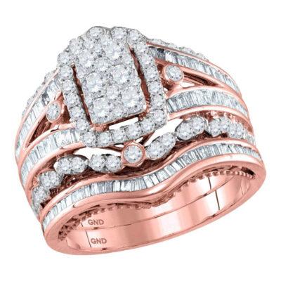 14kt Rose Gold Round Diamond Bridal Wedding Ring Band Set 2 Cttw