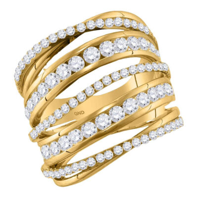 10kt Yellow Gold Womens Round Diamond Fashion Open Strand Cocktail Ring 2-1/2 Cttw