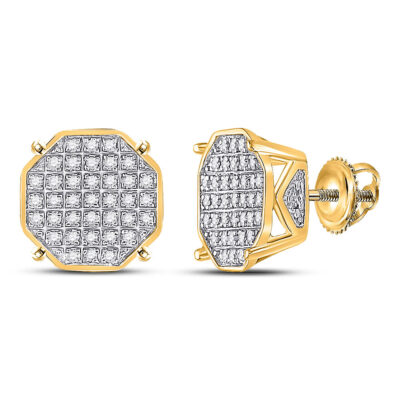 10kt Yellow Gold Mens Round Diamond Octagon Cluster Earrings 1/4 Cttw