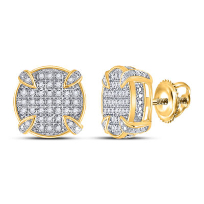 10kt Yellow Gold Mens Round Diamond Circle Stud Earrings 1/4 Cttw