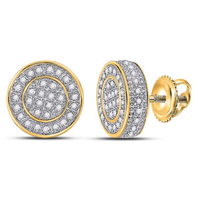 10kt Yellow Gold Mens Round Diamond Disk Circle Earrings 1/3 Cttw