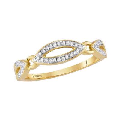10kt Yellow Gold Womens Round Diamond Fashion Band Ring 1/10 Cttw