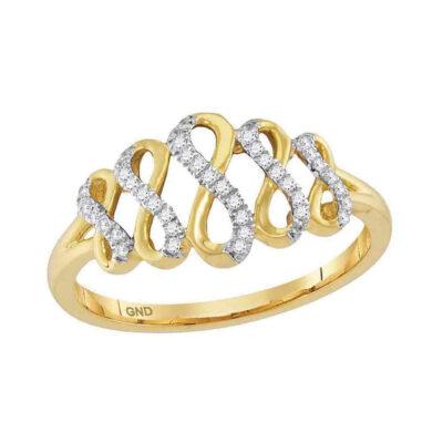 10kt Yellow Gold Womens Round Diamond Fashion Infinity Ring 1/10 Cttw