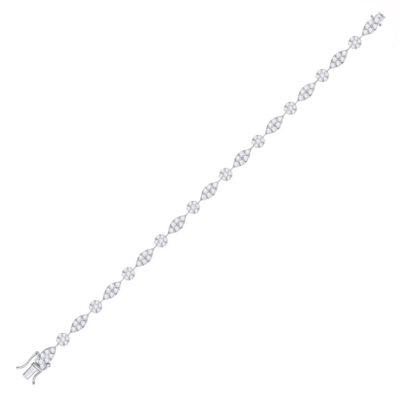 14kt White Gold Womens Round Diamond Link Tennis Bracelet 4 Cttw