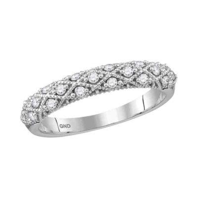 10kt White Gold Womens Round Diamond Anniversary Ring 1/4 Cttw