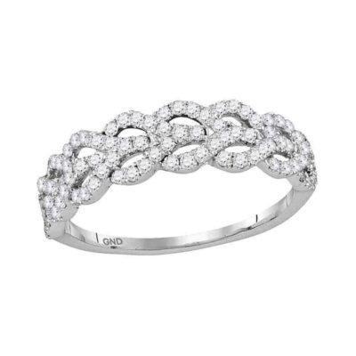 10kt White Gold Womens Round Diamond Fashion Band Ring 3/8 Cttw