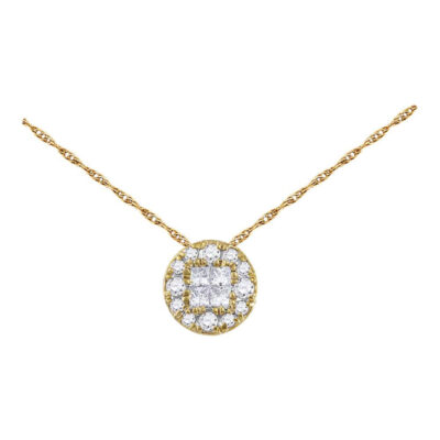14kt Yellow Gold Womens Princess Diamond Fashion Cluster Pendant 1/4 Cttw