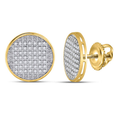 10kt Yellow Gold Mens Round Diamond Disk Circle Earrings 1/4 Cttw