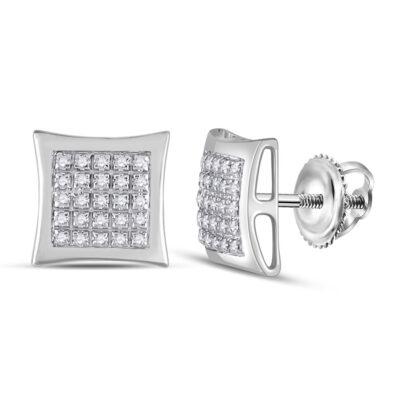 10kt White Gold Mens Round Diamond Kite Square Earrings 1/8 Cttw