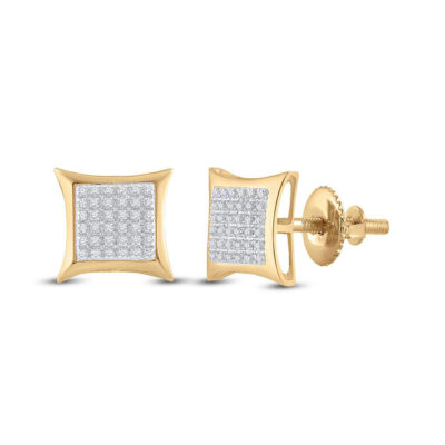 10kt Yellow Gold Mens Round Diamond Kite Square Earrings 1/5 Cttw