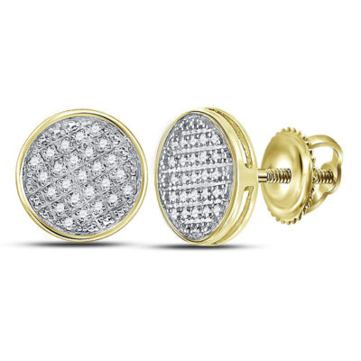 10kt Yellow Gold Mens Round Diamond Circle Disk Cluster Earrings 1/8 Cttw