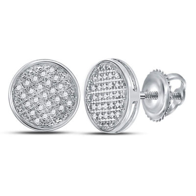 10kt White Gold Mens Round Diamond Circle Disk Cluster Earrings 1/8 Cttw