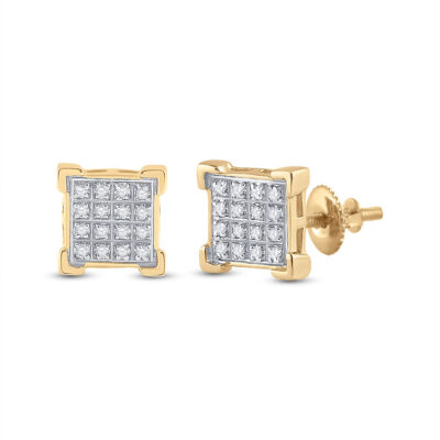 10kt Yellow Gold Mens Round Diamond Square Cluster Earrings 1/10 Cttw