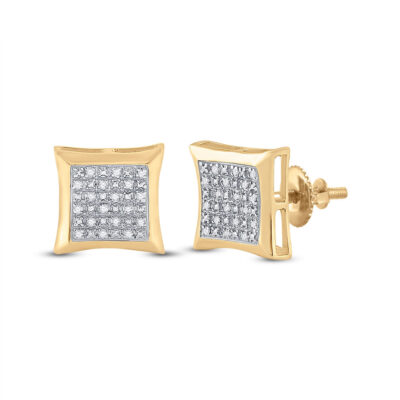 10kt Yellow Gold Mens Round Diamond Kite Square Earrings 1/12 Cttw