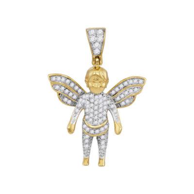 10kt Yellow Gold Mens Round Diamond Guardian Angel Charm Pendant 1/3 Cttw