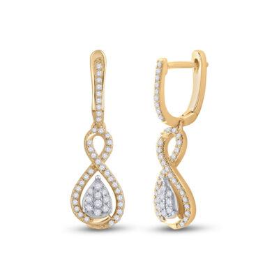 10kt Yellow Gold Womens Round Diamond Teardrop Dangle Earrings 3/8 Cttw