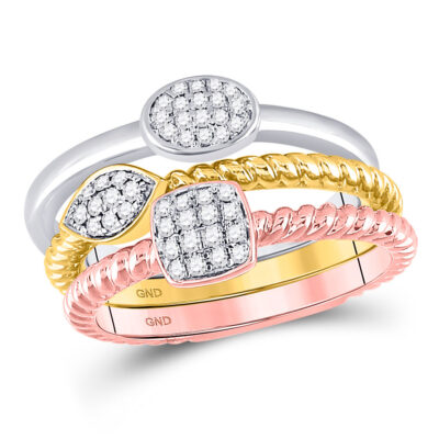 10kt Tri-Tone Gold Womens Round Diamond Trio Stackable Band Ring Set 1/5 Cttw