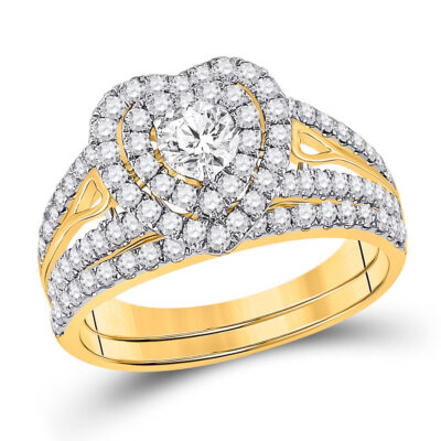 14kt Yellow Gold Round Diamond Bridal Wedding Ring Band Set 1-1/5 Cttw