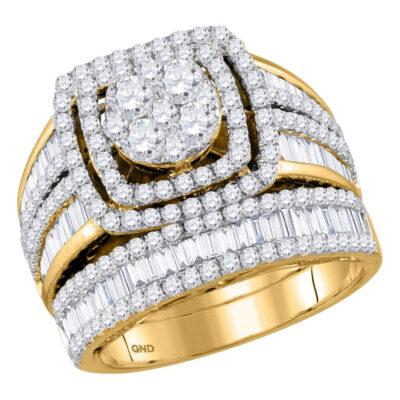 14kt Yellow Gold Round Diamond Bridal Wedding Ring Band Set 2-1/2 Cttw