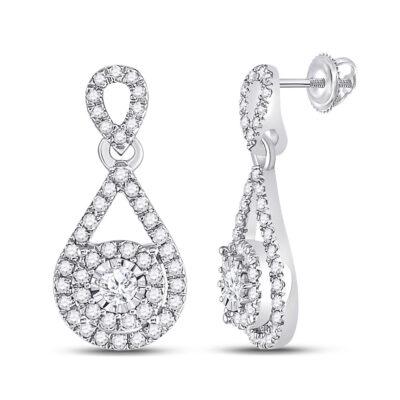 10kt White Gold Womens Round Diamond Teardrop Stud Earrings 1/2 Cttw