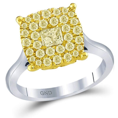 14kt Two-tone Gold Princess Yellow Diamond Solitaire Bridal Wedding Ring 1 Cttw