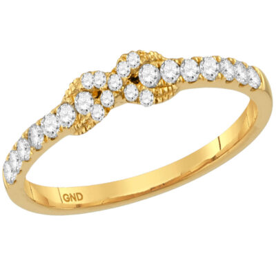 14kt Yellow Gold Womens Round Diamond Infinity Knot Stackable Band Ring 1/4 Cttw