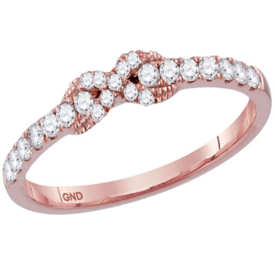 14kt Rose Gold Womens Round Diamond Infinity Knot Stackable Band Ring 1/4 Cttw