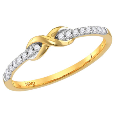 14kt Yellow Gold Womens Round Diamond Infinity Stackable Band Ring 1/10 Cttw
