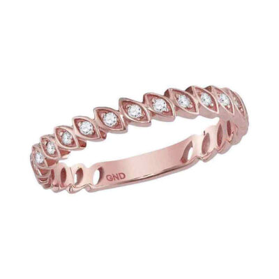 14kt Rose Gold Womens Round Diamond Vintage Stackable Band Ring 1/10 Cttw