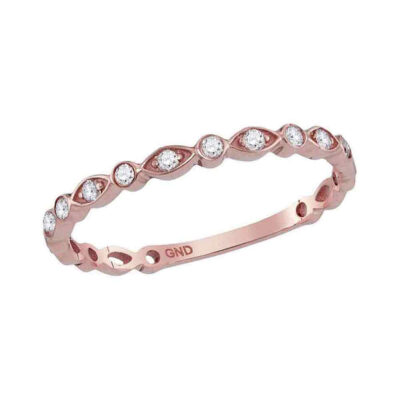 14kt Rose Gold Womens Round Diamond Vintage Stackable Band Ring 1/8 Cttw