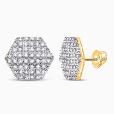 10kt Yellow Gold Mens Round Diamond Hexagon Stud Earrings 1/3 Cttw