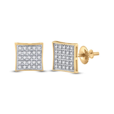 10kt Yellow Gold Mens Round Diamond Kite Square Earrings 1/6 Cttw