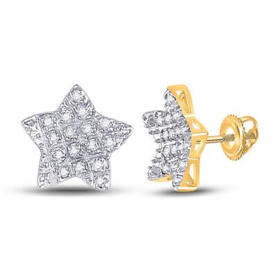 10kt Yellow Gold Mens Round Diamond Star Earrings 1/10 Cttw