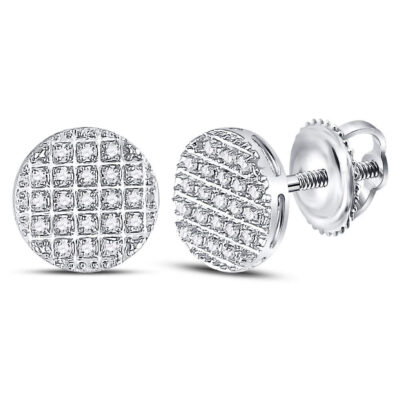 10kt White Gold Mens Round Diamond Circle Cluster Earrings 1/6 Cttw