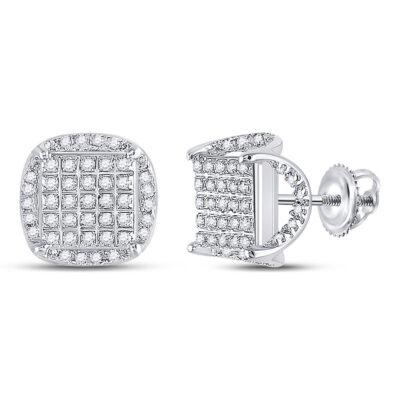 10kt White Gold Mens Round Diamond Square Stud Earrings 1/3 Cttw