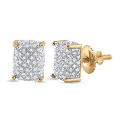 10kt Yellow Gold Mens Round Diamond Cluster Earrings 1/3 Cttw