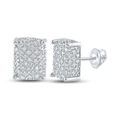 10kt White Gold Mens Round Diamond Rectangle Cluster Earrings 1/3 Cttw