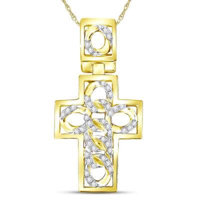 10kt Yellow Gold Mens Round Diamond Curb Link Cuban Cross Charm Pendant 1/3 Cttw