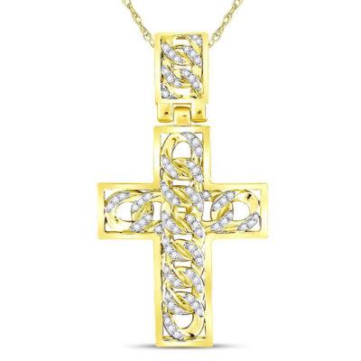 10kt Yellow Gold Mens Round Diamond Curb Link Cross Charm Pendant 5/8 Cttw