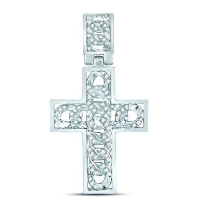 10kt White Gold Mens Round Diamond Curb Link Cross Charm Pendant 5/8 Cttw