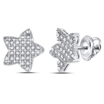 10kt White Gold Mens Round Diamond Star Cluster Earrings 1/6 Cttw