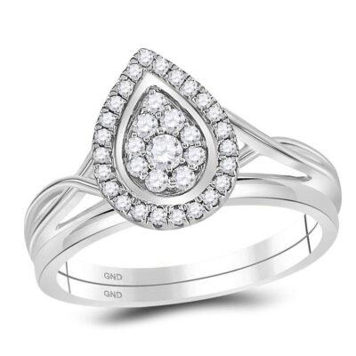 10kt White Gold Diamond Teardrop Cluster Bridal Wedding Ring Band Set 1/3 Cttw