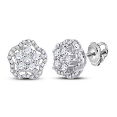 14kt White Gold Womens Round Diamond Star Earrings 1/2 Cttw